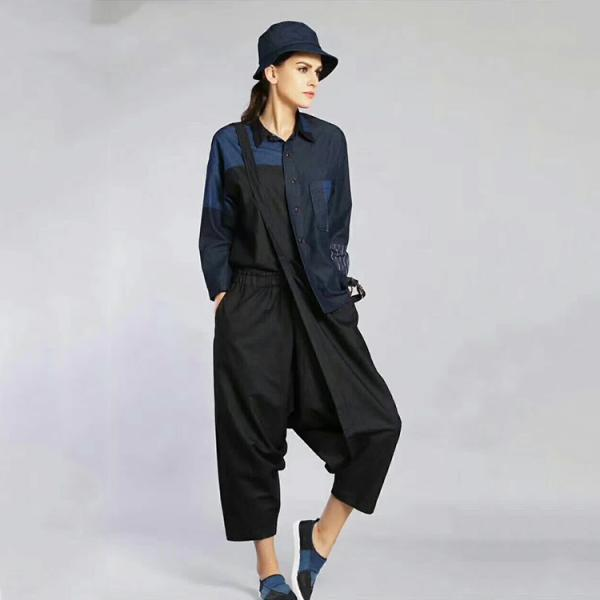 New Arrival Black Contrast Fashion Denim Jumpsuits Woman Jeans Overalls