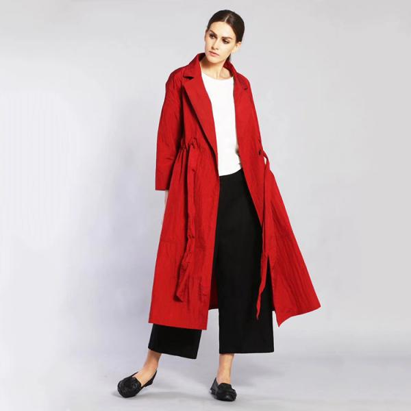 Ladylike Waistband Decoration Duster Coat Elegant Autumn Womans Coat