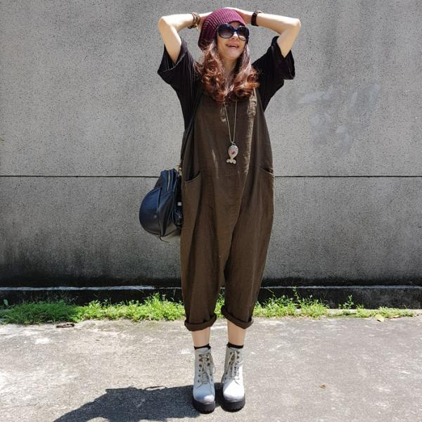 2017 Fall Fashion Cotton Linen Casual Jumpsuits Womans Harem Overalls