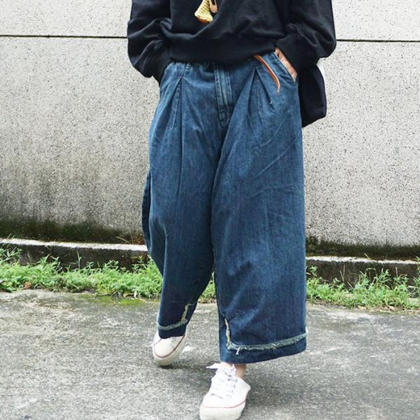 Latest Fashion Raw Hem Fashion Baggy Jeans Wide Leg Denim Pants