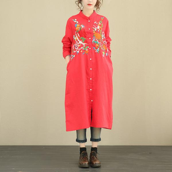 High-Quality Stereo Embroidered Blouse Chinese Vintage Oversized Shirt Dress
