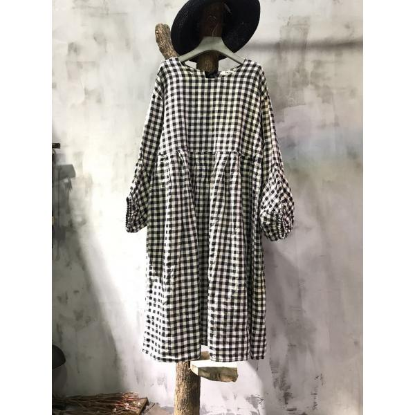 Beautiful Puff Sleeve Loose Linen Dress Lace-Up Plaid Frock Dress