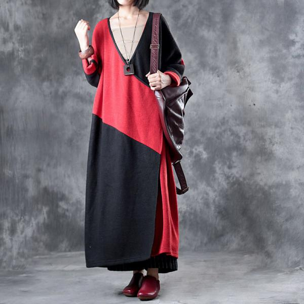 Red Contrast Long Sleeve Duster Coat Designer Oversized Sweater Dress