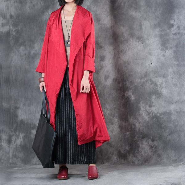Wide Lapel Plus Size Trench Coat Women Fashion Long Sleeve Red Overcoat