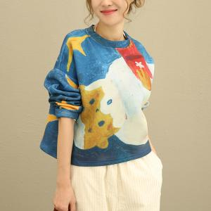 2017 Autumn Oil Painting Oversized Tshirt Thickening Short Top