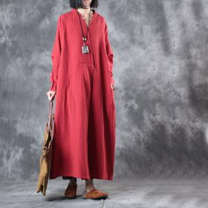 Simple Design Long Sleeve Red Dress Cotton Linen Loose Dress