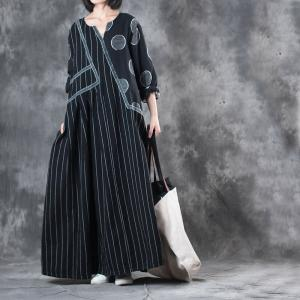 Black Contrast Polka Dot Plus Size Maxi Dress Stripes Linen Dress
