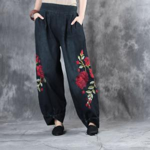 Chinese Vintage Rose Embroidered Balloon Pants Pankou Decoration Baggy Jeans