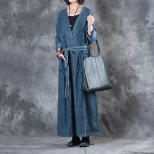 V-Neck Plus Size Maxi Dress Front Slit Belted Vintage Denim Dress