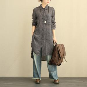 Vertical Stripes Long Linen Blouse Asymmetrical Oversized Shirt Dress