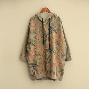 Casual Style Vintage Floral Hoodie Womans Cotton T-shirt