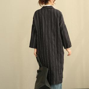 OL Style Vertical Stripes Linen Womans Blazers Plus Size Outerwear