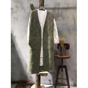 Simple Design Front Pockets Wool Waistcoat Plain Waved Womans Cardigan