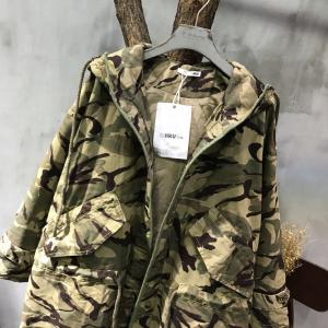 Street Fashion Drawstring Waist Camouflage Coat Winter Trench Coat Women