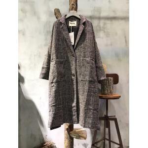 British Style Classical Plaid Wool Coat Plus Size Womans Blazers
