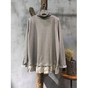 Casual Style Turtle Neck Bottoming Shirt Lace Splicing Cotton Striped T-shirt