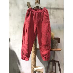 Solid Color Embroidery Threads Baggy Trousers Womans Cotton Pants