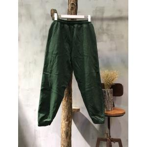 Sports Style Casual Pencil Trousers Contrast Color Cotton Pants