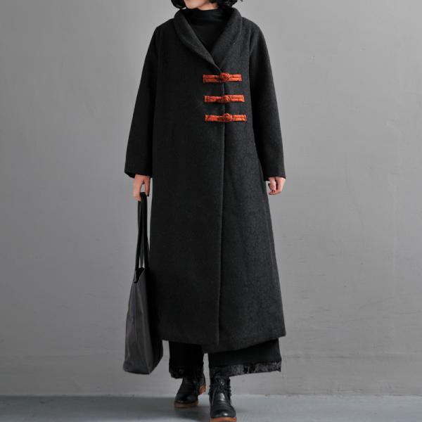 Retro Style Chinese Buttons Winter Black Coat Senior Woman Customized Overcoat