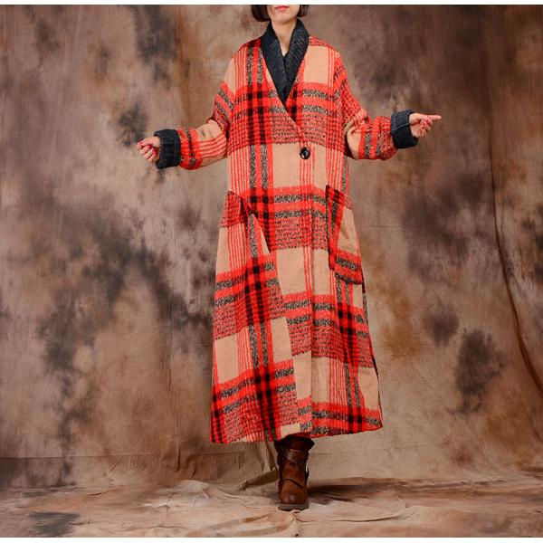 British Style Grids Printing Winter Coat Womans Vintage Wool Coat