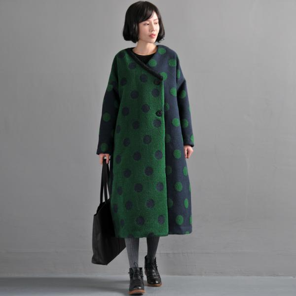 Retro Style Polka Dot Green Coat Elegant Oversized Woolen Overcoat