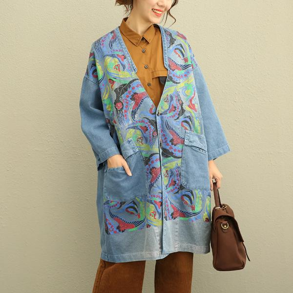 Big Flap Pockets Plus Size Denim Overcoat Plunging Neck Vintage Printed Coat