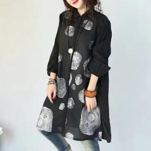 Abstract Print Hem Slit Shirt Dress Loose Oversized Blouse