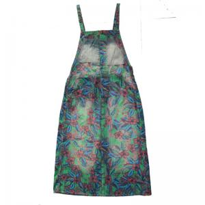 Vintage Style Printing Loose Suspender Skirt Backless Overalls For Woman