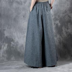 Over 50 Style Wool Wide Leg Pants Elastic Waist Gray Trousers