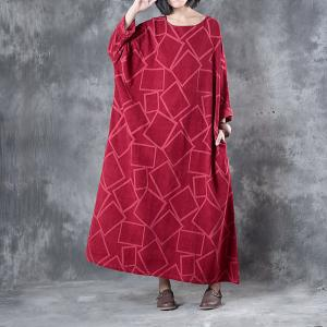 Beautiful Rhombic Prints Plus Size Maxi Dress Elegant Red Dress