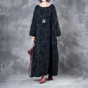 Winter 2018 Geometric Figure Black Dress Plus Size Kaftan Dress