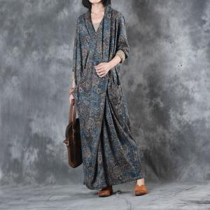 Folk Style Front Cross Long Sleeve Blue Dress Vintage Prints Casual Maxi Dress
