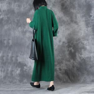 High-End  Chinese Buttons Green Dress Vintage Plus Size Embroidered Dress