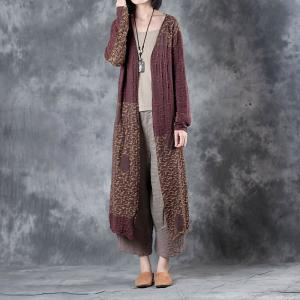 Yellow Contrast Loose Cotton Linen Outerwear Senior Woman Cardigan
