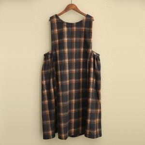 6068d297de8 Ladylike Plus Size Woolen Sundress Plaid Jumper Dress - Morimiss.com