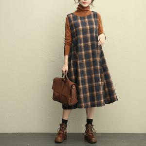 Ladylike Plus Size Woolen Sundress Plaid Jumper Dress
