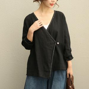 High-Quality V-Neck Threads Embroidered Blouse Slant Buttons Linen Black Shirt