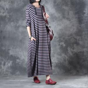 Casual Style Striped Loose Dress Winter Womans Hoodie Dress