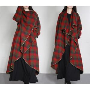 High-End Classic Plaid Woolen Outerwear Layering Designer Duster Coat