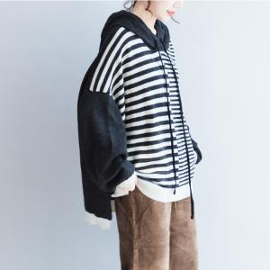 New Arrival Puff Sleeve Woolen Hoodie Plus Size Striped Sweater