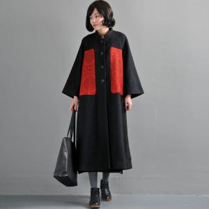 High-End Red Contrast Plus Size Black Coat Womans Wool Outerwear