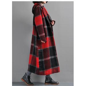 British Style Red Plaid Overcoat Wide Lapel Long Sleeve Vintage Coat