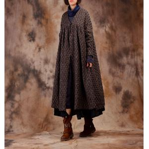 V-Neck  Pleated Plus Size Tweed Coat Over 50 Houndstooth Coat
