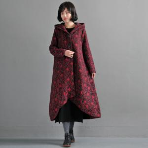 New Arrival Flowers Jacquard Hooded Coat Woolen Red Cloak Coat