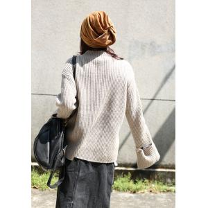 Original Design Asymmetrical Woolen Sweater Long Sleeve Turtleneck Sweater