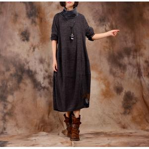 Latest Fashion Patchwork Turtleneck Sweater Dress Loose Winter Swing Dress