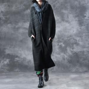 Over 50 Style Striped Oversized Cardigan V-Neck  Winter Outerwear