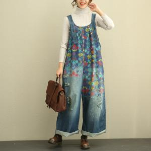 Beautiful Vintage Floral Jeans Jumpsuits Plus Size Denim Overalls