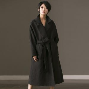 Vintage Style Wide Leg Waistband Elegant Coat Plus Size Black Overcoat
