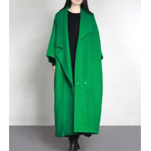 High-Quality Wide Lapel Green Coat Waistband Woolen Plus Size Winter Coat